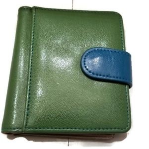 Leather Card Holder Wallet Blue Green